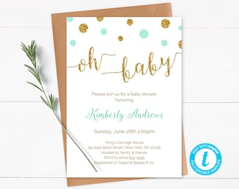 Green Mint and Gold Oh Baby Invite, Oh Baby Invitation Template, Mint and Gold Glitter Baby Shower, Printable, Instant Download - CG4