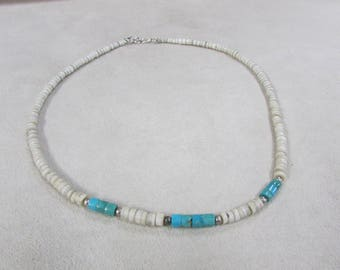 Clam Shell and Turquoise Heshi Necklace