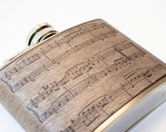 Wood Flask Gift Secret Santa : Music Note, waltz, musician, artist, player, sheet music, handmade, piano music, night music
