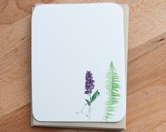 Personalized Stationary Set - Fern and Flower - Stationery - Woodland Note Card Set - Stationery Set