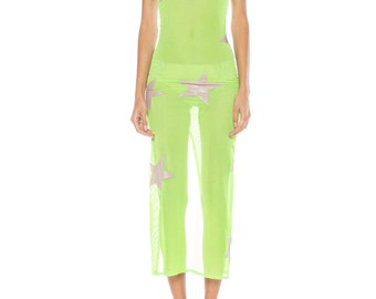Sheer Lime Green And Mesh Slip With Silver Star Applique Size: 0