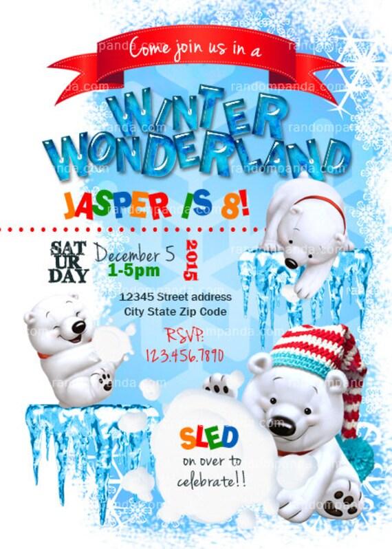 winter wonderland invitation polar bear party snowball fight. Black Bedroom Furniture Sets. Home Design Ideas