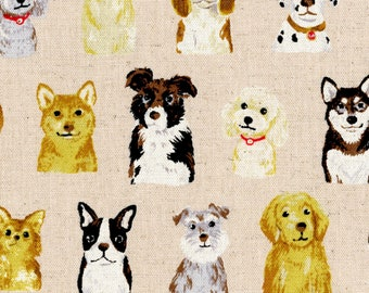 HALF YARD Kokka - Animal World Dogs on NATURAL-  85 Cotton / 15 Linen Canvas - 45100-100D Retriever, Poodle, Chihuahua, Dalmation, Corgi