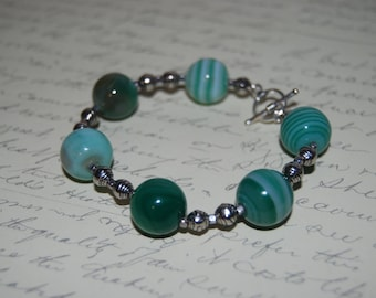 Natural Green  Agate  Stone Bracelet