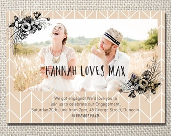 Daisy blush engagement party printable invite - with photo