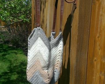 Handmade boho bag with repurposed handles
