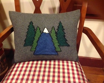Ski mountain hand needle felted wool pillow. Trees and Maine mountain hand needle felted pillow
