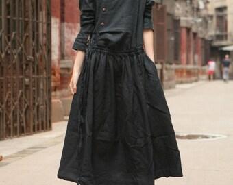 black linen dress, maxi dress, black dress, linen maxi dress, long linen dress, black tunic dress, longsleeved dress, winter dress, custom