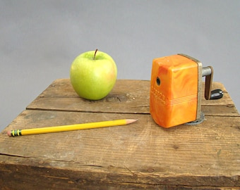 Boston Bulldog Pencil Sharpener; Marbleized; Orange; Vintage Pencil Sharpener; Manual Pencil Sharpener; Wall Pencil Sharpener;