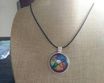 Rainbow pentagram pendant and necklace