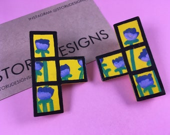 Hand-painted floral Tetris earrings