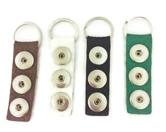 Snap Key Chain- Snap Key Fob- Fits all Standard 18mm Snap Charms and Snap Buttons- Green, Brown, White and Black Key Chains