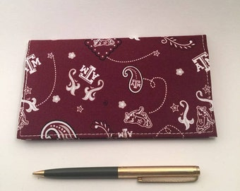 Checkbook Cover,  Fabric Checkbook, Duplicate Checkbook, Texas A & M Checkbook Cover, Checkbook Holder, Checkbook Register,L MillerCreations