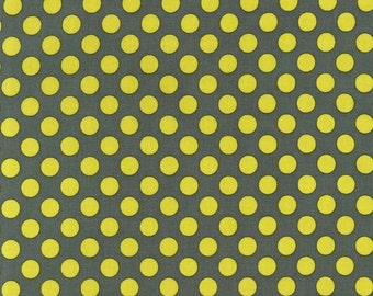 Ta Dot by Michael Miller - Moss - Yellow on Grey - 1/2 yard cotton quilt fabric 516