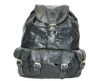 80's Style Black Leather Rucksack | Mediterranean Leather Backpack