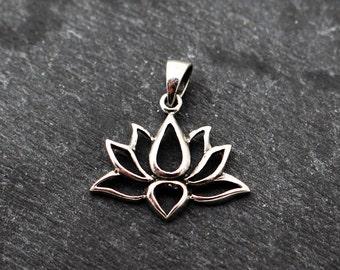 Lotus Pendant, Sterling Silver, Lotus Charm, Lotus Blossom, Lotus Necklace, Flower Pendant, Mindfulness Jewelry, Lotus Blossom, 925