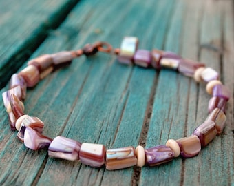 Lavendar Shell Nugget and Bone Disc Bracelet