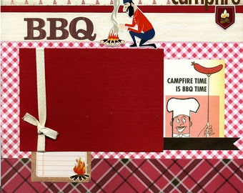 Campfire BBQ - 12x12 Premade Scrapbook Page