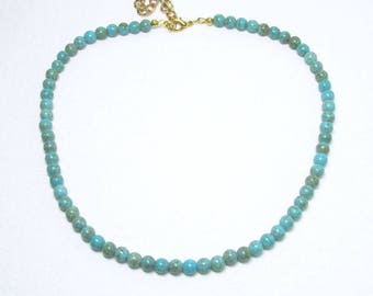 Turquoise Necklace, Teal Necklace, Beaded Turquoise, Short Necklace, Turquoise Choker, Small Beads