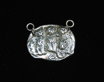 Vintage Sterling Silver Four Kitty Cat Clowder Pendant Charm #BKC-KCHRM114