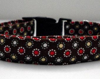 "Retro Flowers Eco Dog Collar - Large (16""-24"")"