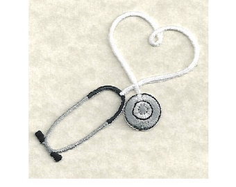 Embroidered White Stethoscope Iron On Applique Patch - Medical - Nurse - Doctor - Scrubs - CRAFT PROJECTS