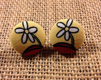 Minnie Hat Inspired - Fabric Button Earrings