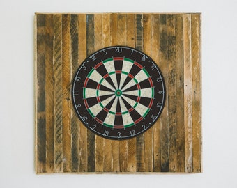 handcrafted reclaimed wood lath dart board