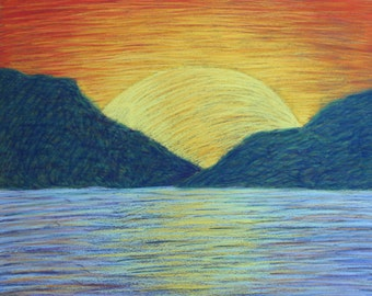 Yellow & Orange Sunset- Original 11x14 Pastel Drawing
