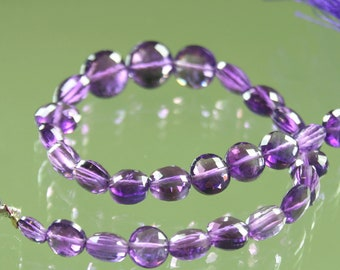 AAA Amethyst Faceted Checker Cut Coins 7mm - 10mm