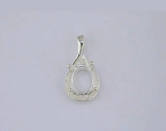 Solid Sterling Silver or 14kt Yellow or White Gold 7x5-10X8mm Oval Semi Textured Fancy Pendant Setting, New, Made in USA 161-750/141-750