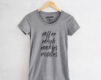 Coffee-Couch-Cookies-Cuddles - Tri-Blend Women's Fitted Crew Neck Shirt