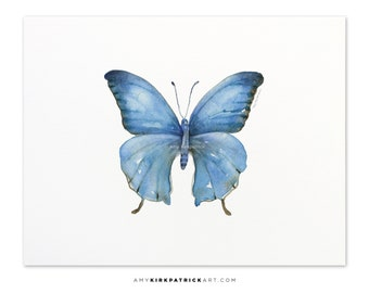 Blue Butterfly Painting, Butterfly Print, Original Blue Butterfly Watercolor, Blue Butterfly Greeting Cards, 111 Blue Elijah Butterfly