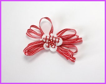 Read and White Checkered Butterfly Hair Clip