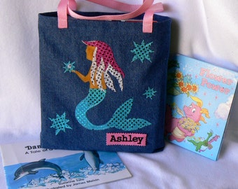 Mermaid Tote Bag|Kids Tote Bag|Gift for Niece|Toddler Tote Bag|Children Library book bag|Christmas Gift|Gift For Grand Kids and Bookworm