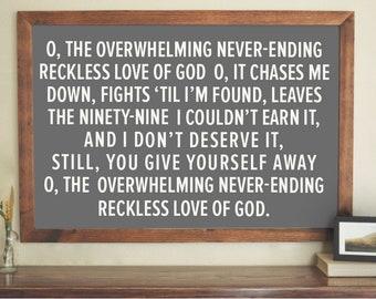 Worship lyrics etsy reckless love of god song lyrics corey asbury charcoal with ivory letters stopboris Choice Image