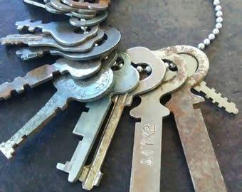 Lot of 21 Vintage Flat Keys with BONUS Brass Vintage Skeleton Key