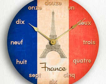 French Flag France Silent Wall Clock