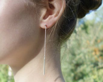 Long earrings - Chain earring, Sophisticated earrings, Long bar earring, Dainty earrings, Modern earrings, Earrings for women, Birthday gift