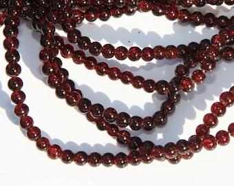 50Pcs 4mm glass beads / cracle / crash beads / dark brown  GP003