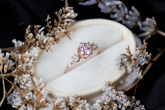 Champagne pink sapphire gold twig engagement ring, twig nature moissanite ring, three stone ring, 14k gold engagement ring, chatham ring