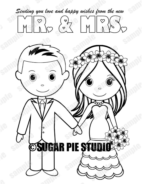 Instant download wedding sugar pie studio instant download printable bride groom wedding coloring page activity page party favor childrens kids pdf and altavistaventures Images