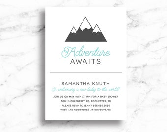 Adventure Awaits Baby Shower Invite // Adventure Awaits Baby Shower Invitation // Mountain baby Shower Invite // Digital // Printable
