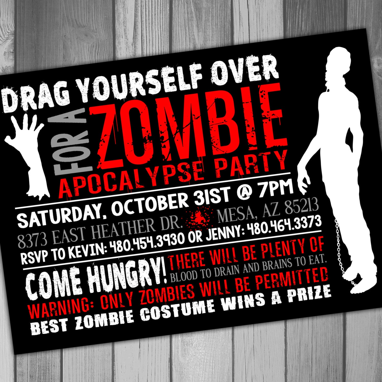 Halloween Party Invitation Zombie Party Costume Party