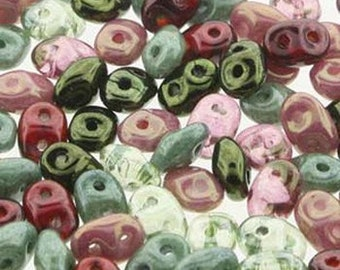 50 Grams Antique Roses SuperDuo 2 Hole Czech Seed Beads Super Duo Beads Czech Glass Beads