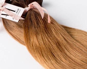 Bronzed Ombre Clip-in Hair extensions// Luxury Quality European Human Hair// Ready to ship- Free Exchange and returns