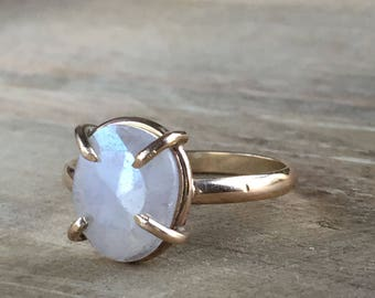 White Sapphire Silverite and Gold Fill Ring - Size 7