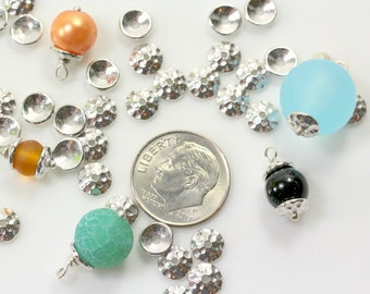TierraCast Bead Caps, Hammered Bead Caps, 6 mm Hammertone Bead Caps, Non Tarnishing  Rhodium  Plated Lead Free Pewter, 10 Pieces, 6161