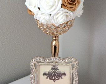 GOLD & WHITE Kissing Ball. Flower Ball. Pomander. Flower Girl. Wedding Decor. Church Pew. Bridesmaid Bouquet.