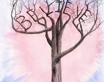"""Titled """"Believe Tree"""" Graphite pencil. Watercolor enhanced drawing. Acid free paper. Trees. Landscape. Inspirational."""